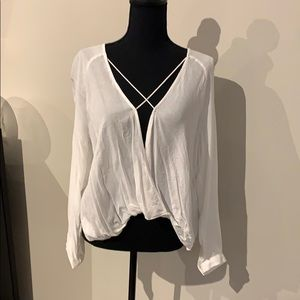 Silence and noise cream rayon top